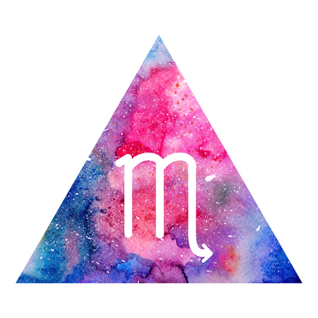 zodiacal symbol: Scorpio zodiac sign on watercolor triangle background. Astrology symbol