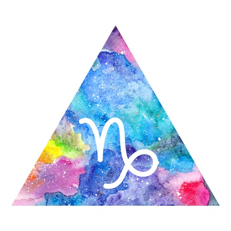 Capricorn zodiac sign on watercolor triangle background. Astrology symbol Stock Photo