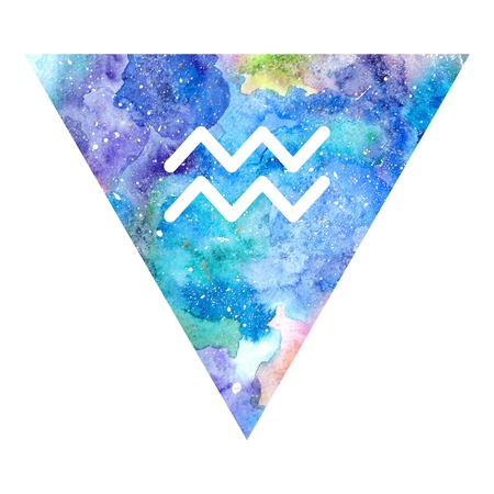 zodiacal symbol: Aquarius zodiac sign on watercolor triangle background. Astrology symbol