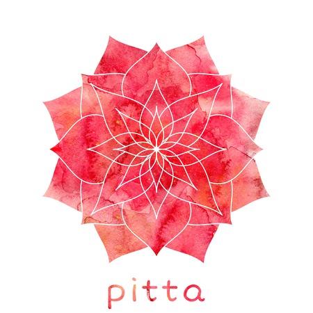 Pitta dosha abstract symbol with watercolor texture. Ayurvedic body type Stock Photo