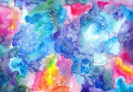 Watercolor multicolored bright cosmic texture