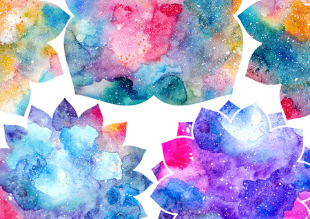 delectable: Watercolor blue, purple, and pink abstract flowers and white frame. Fairytale colorful background Stock Photo