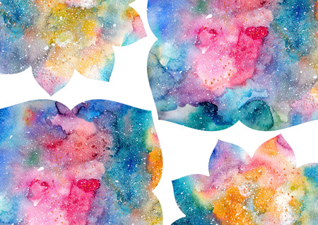 delectable: Watercolor blue, yellow, and pink abstract flowers and white frame. Fairytale colorful background Stock Photo