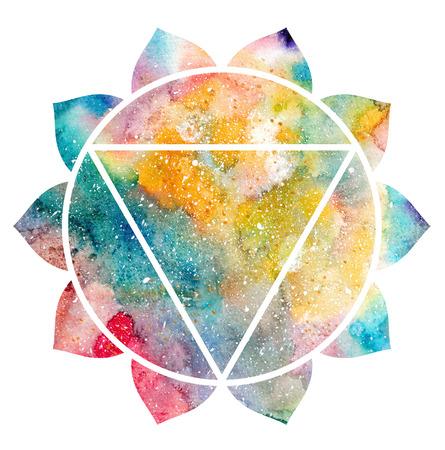 manipura: Chakra Manipura icon, ayurvedic symbol, concept of Hinduism, Buddhism. Watercolor cosmic texture. Isolated on white background Stock Photo