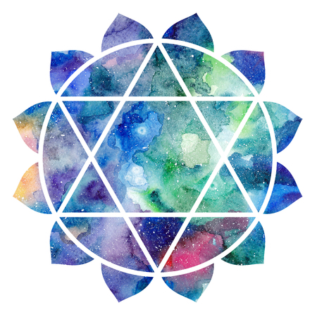 Chakra Anahata icon, ayurvedic symbol, concept of Hinduism, Buddhism. Watercolor cosmic texture. Isolated on white background