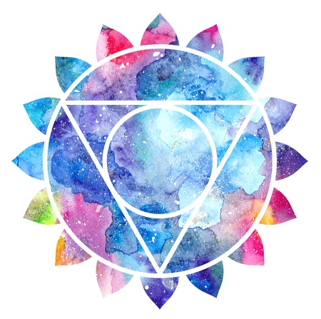 vishuddha: Chakra Vishuddha icon, ayurvedic symbol, concept of Hinduism, Buddhism. Watercolor cosmic texture. Isolated on white background Stock Photo