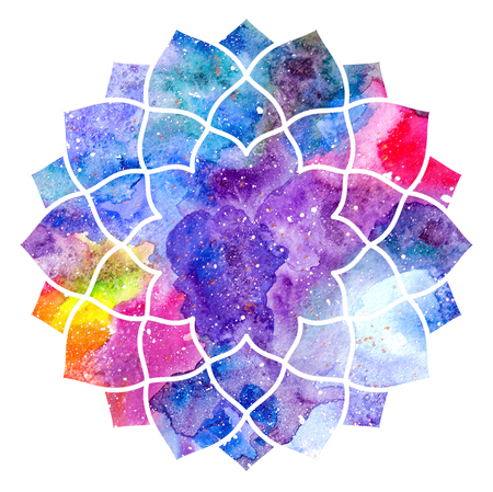 hinduismo: Chakra Sahasrara icono, símbolo ayurvédica, el concepto del hinduismo, budismo. Textura de la acuarela cósmica. Aislado en el fondo blanco
