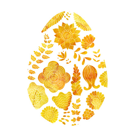 golden texture: Gold Easter egg with abstract floral pattern. isolated on white background. Watercolor yellow golden texture Stock Photo