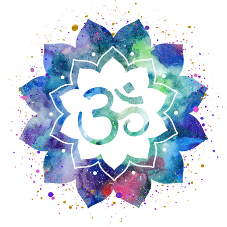 om sign: Om sign in lotus flower. Rainbow watercolor texture and splash isolated. Spiritual Buddhist, Hindu symbol