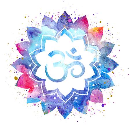 Om sign in lotus flower. Rainbow watercolor texture and splash isolated. Spiritual Buddhist, Hindu symbol
