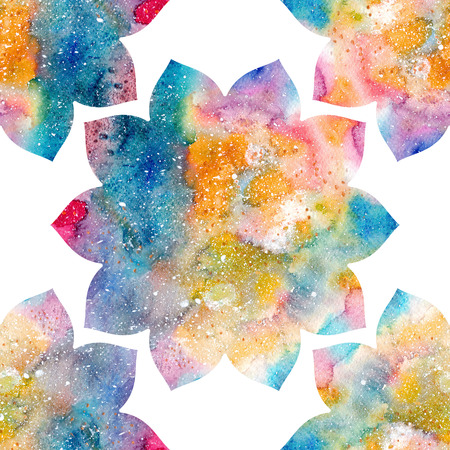 Watercolor floral ornament, flower silhouette, rainbow colorful Indian lotus flowers, bright multicolored texture. Stock Photo