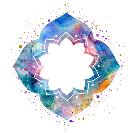 Flower frame in oriental style. Watercolor texture and splash. Colorful blue, purple, pink colors Stock Photo