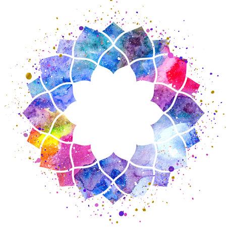 幾何学的な曼荼羅花フレーム。水彩テクスチャとスプラッシュ。カラフルなブルー、紫、ピンク色。宇宙空間のテクスチャー