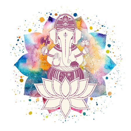Ganesha, or Ganapati, Indian deity in the Hindu. On watercolor lotus flower with paint splash, illustration for design of prints, web, festive, Chaturthi invitations. Stock Photo