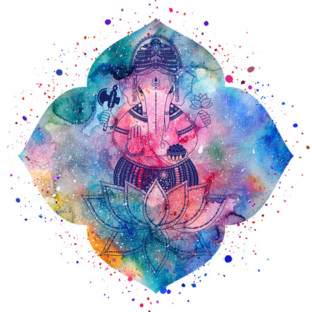 Ganesha, or Ganapati, Indian deity in the Hindu. Silhouette on a watercolor lotus flower with paint splash, illustration for design of prints, web, festive, Chaturthi invitations.