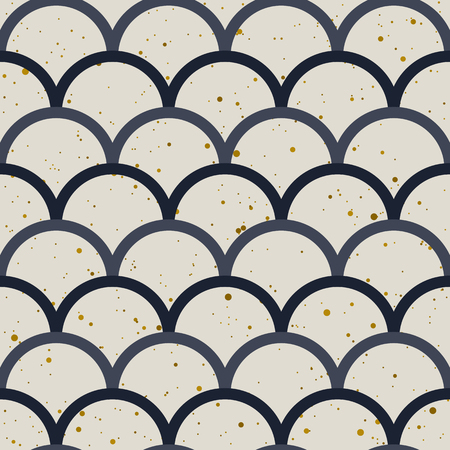 Abstract seamless pattern. Japanese style, fish scale. Gold splash, indigo and white colors.