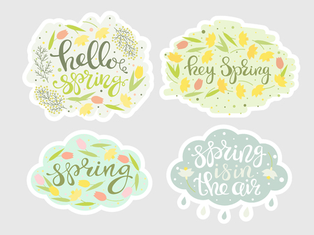 Spring floral stickers set. Green leafs, rain cloud, yellow narcissus, tulips, mimosa and lettering. Natural colors, handwritten text, seasonal tags for sale. Vector illustration.