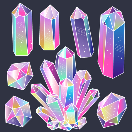 Magic fairytale crystals stickers set. Colorful cartoon gems. Vector illustration, elements for design.