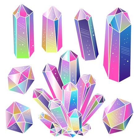 Magische Märchen Kristalle isoliert. Mehrfarbige Regenbogen Gradienten Edelsteine ??festgelegt. Vektorelemente.