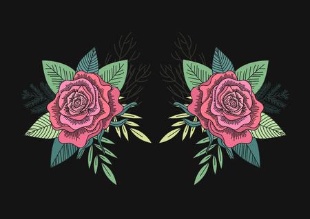 Rosas rojas y hojas verdes patrón de espejo sobre un fondo negro. Estilo del arte popular. Ramo romántico del bosque. Ilustración del vector.
