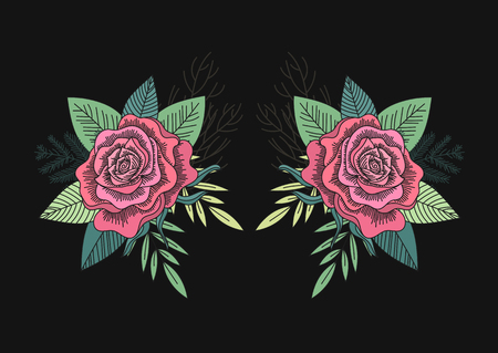 Red roses and green leaves mirror pattern on a black background. Folk art style. Forest romantic bouquet. Vector illustration. Illustration