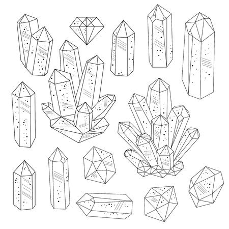 Set von Kristallen Edelsteinen in schwarz und weiß. Line-Art-Stil. Isolierte Objekte. Vektor-Illustration.