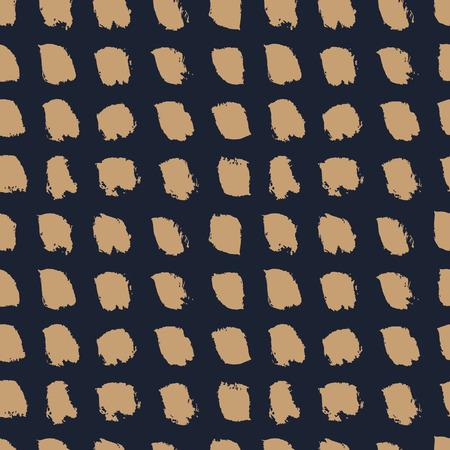 Main a dessiné des pinceaux marron sur fond bleu foncé. Abstrait modèle sans couture tacheté. Design minimaliste naïf. Illustration vectorielle