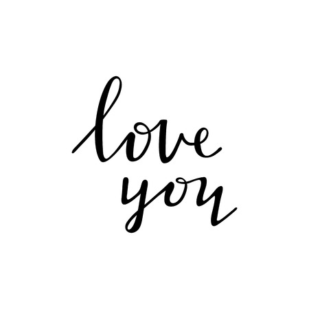 Love you - black ink handwritten lettering design isolated, image overlay.
