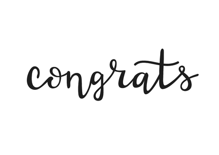 Congrats - cute hand drawn lettering. Decorative typography element isolated on white backdrop. Illustration