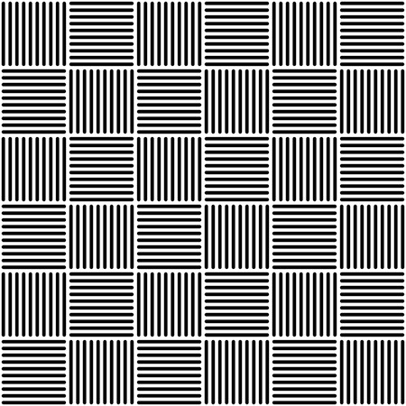Wicker pattern black and white Abstract geometric tile illustration.