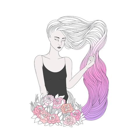Een mooi meisje met lang golvend haar, jonge vrouw met witte en roze gekleurde haren en bloemen. Vector illustratie in schoonheid thema.