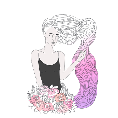 A beautiful girl with long wavy coloring hair, young woman with white and pink dyed hairs, and flowers. Vector illustration in beauty theme.