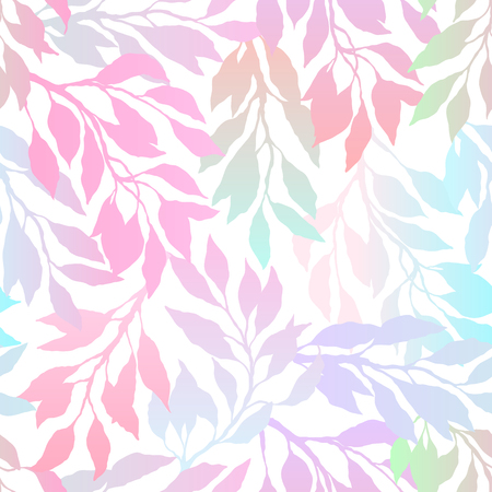 Multicolored gradient leafs and branches on a white background, bright floral pattern, romantic seamless background. Vector illustration. Ilustração