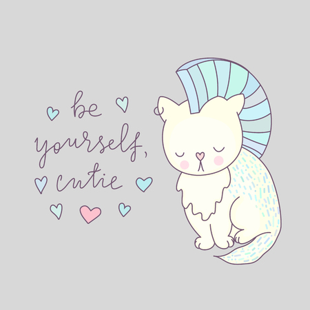Cute cat vector illustration, be yourself - lettering, animal drawing, white kitten with blue hair. Cartoon character for greeting cards, design of t-shirts and more. Illustration