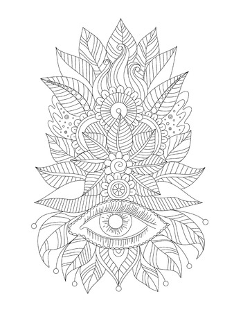 Floral line art isolated ornament, magical eye, henna design. Oriental black and white pattern. Indian traditional art.