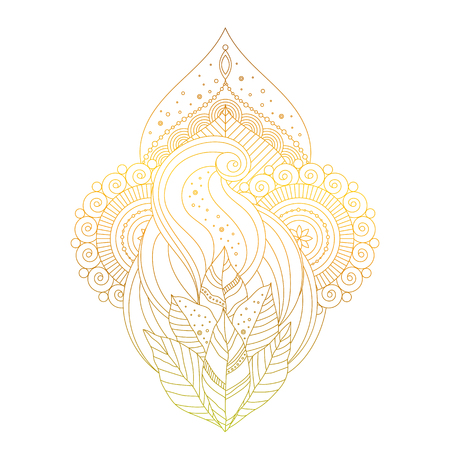 Golden mehendi ornament. Traditional Indian pattern, design floral element for tattoo or stickers, prints in boho hippie style vector art.