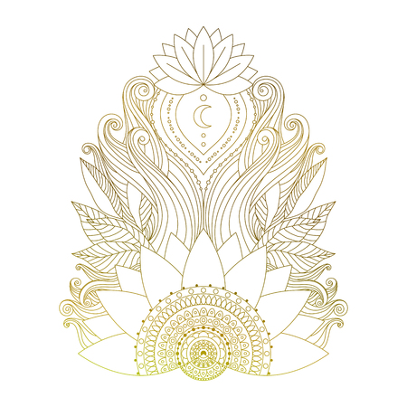 Golden mehendi element with lotus flowers and leaves. Ethnic floral boho ornament, isolated design element for tattoo, stickers, prints, yoga design vector illustration.