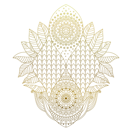 Golden mehendi hand drawn decorative element with leaves. Ethnic arabesque ornament, isolated on white background for tattoo, stickers, or clothes design in boho style vector art.