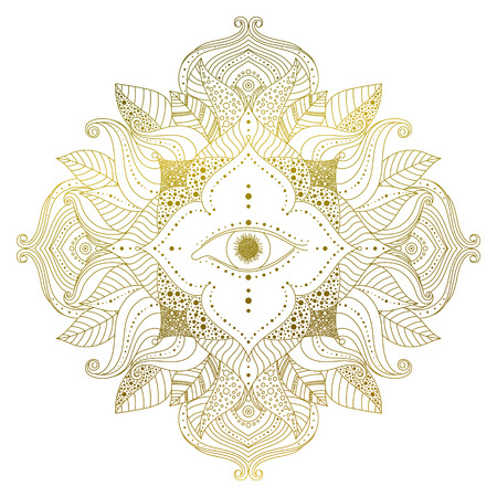 Hand drawn golden mandala with eye inside flower, and leaves in boho style. Isolated decorative ethnic Asian element for a mehndi tattoo, stickers, yoga or clothes design vector art.