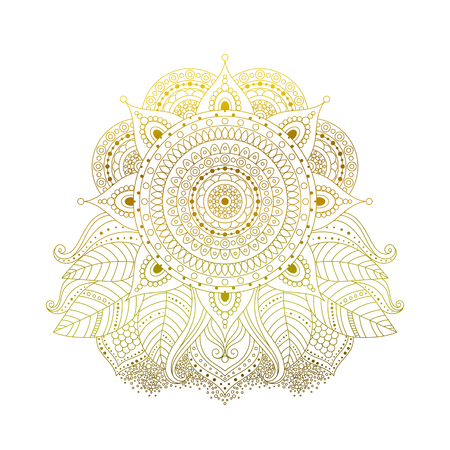 Golden mehndi hand drawn decorative pattern with floral elements. Ethnic Asian ornament isolated on white background for tattoo, yoga, or clothes design in boho style vector illustration.