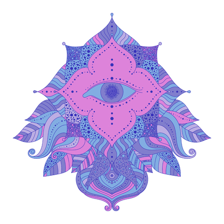 Mystic symbol seeing eye in floral frame, pink and blue, violet colored. Psychedelic, esoteric theme vector isolated decorative element for clothes design, posters, stickers.