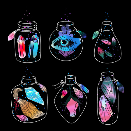 Magic cartoon jars set. Magical eye, crystals gemstones, wings of butterfly and rose flower inside. Vector illustration.