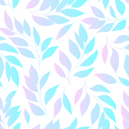 Leaves gradient seamless background, pink and blue colored foliage pattern. Vector illustration.