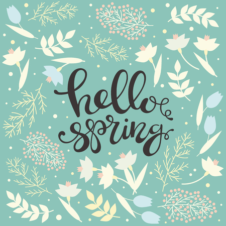 Hello spring - handwritten floral card. Narcissus and mimosa, leaves and tulips. Lettering. Blue, white and yellow color. Vector illustration. Ilustração