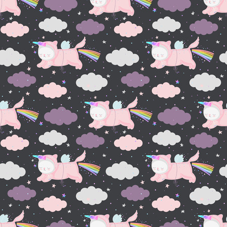 Cute cartoon unicorn cats in the night sky, seamless pattern. Vector background with funny animals. Can be used for kids design, textile, fabric, wallpaper, postcards.