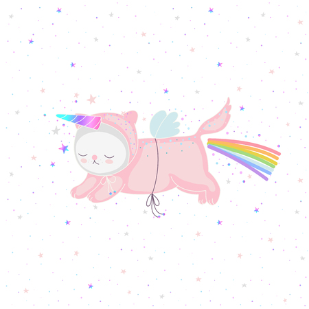 Pink unicorn cat with a rainbow and magical horn, and blue wings, and twinkling stars on a white background in vector. Flying cute animal character for design - postcards, kids textile, or clothes. Ilustração