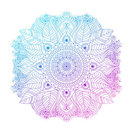 Purple violet blue gradient coloring mandala, vibrant floral ornament in boho style, or hippie, gipsy, isolated on white background, ethnic eastern design element, vector illustration.