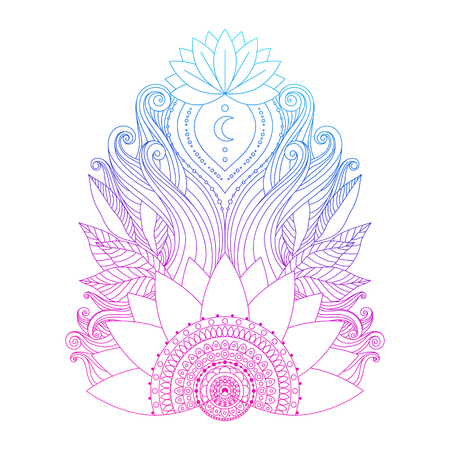 Spiritual symbol, ornamental pink blue lotus flowers and leaves, ethnic Indian art. Hand drawn decorative isolated element for tattoo, yoga, boho clothes design. Ilustração