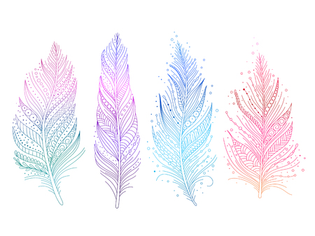Colored bird feathers isolated objects - blue, purple, green and pink, boho style. Vector illustration.