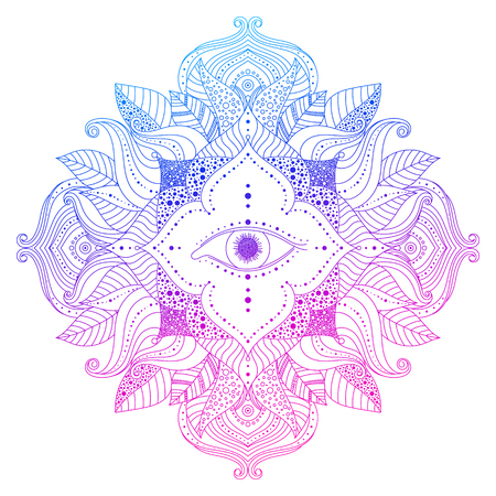 Mystic mandala - seeing eye in floral frame, pink and blue, violet colored. Psychedelic, esoteric, magical symbol, line art. Vector isolated decorative element for clothes design, posters, tattoo.